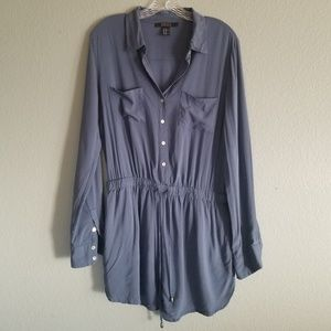 Forever 21 Blue Jumper One Piece Shorts Button Up
